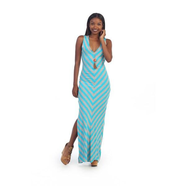 Hadari Women's Side Slit Chevron Maxi Dress