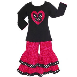 AnnLoren Girls Boutique Pink Floral Heart Pants and Shirt Outfit