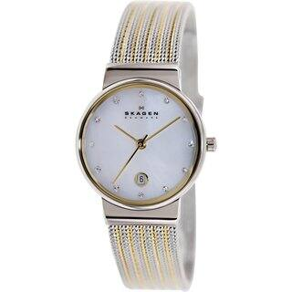 Skagen Women's 355SSGS Two-tone Stainless Steel Mother of Pearl Quartz Watch|https://ak1.ostkcdn.com/images/products/9232745/P16399807.jpg?impolicy=medium