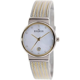 Skagen Women's 355SSGS Two-tone Stainless Steel Mother of Pearl Quartz Watch