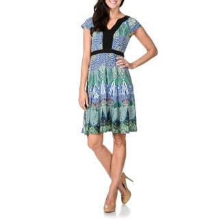 Rabbit Rabbit Rabbit Designs Women's Fit-n-Flare A-line Abstract Print Dress|https://ak1.ostkcdn.com/images/products/9232769/P16399861.jpg?impolicy=medium