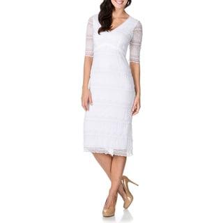 Rabbit Rabbit Rabbit Designs Women's Lace Double V-neck Midi Sheath Dress