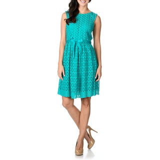 Rabbit Rabbit Rabbit Designs Women's Sleeveless Fit-n-Flare Eyelet Dress
