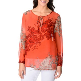 Adiva Women's Sheer Floral Print Top with Inset Camisole
