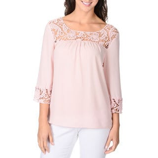 Adiva Women's Crochet 3/4-length Sleeve Peasant Top