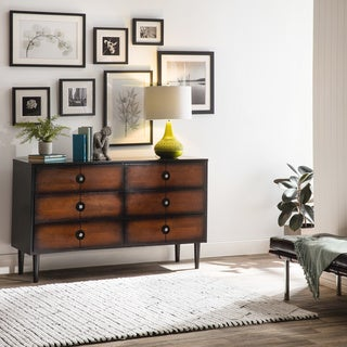 Allen Black and Cherry 6-drawer Mid-century Style Dresser