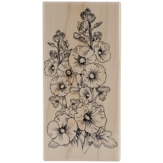 Penny Black Mounted Rubber Stamp 2.75inX5in-Hollyhocks