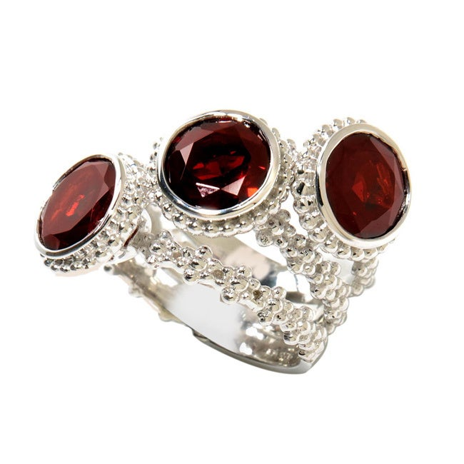 Sterling Silver Three-stone Round-cut Garnet Band Ring (S...