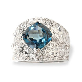 Sterling Silver Cushion Blue and White Topaz Wide Ring