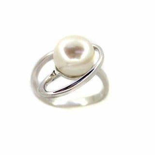 Sterling Silver White Freshwater Button Pearl Abstract Loop Ring (9-9.5 mm)