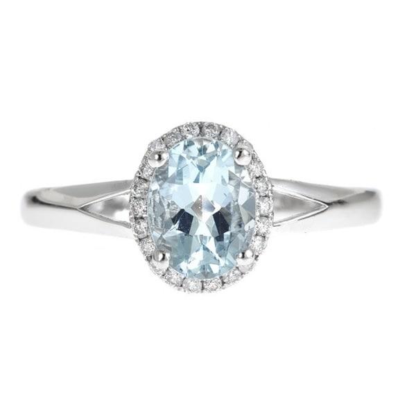 Anika and August 14K White Gold Oval-cut Brazilian Aquamarine 1/8ct TDW White Diamond Ring (G-H, I1-