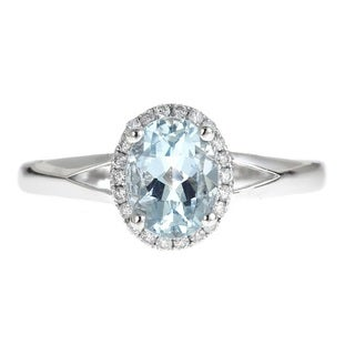 Anika and August 14K White Gold Oval-cut Brazilian Aquamarine 1/8ct TDW White Diamond Ring (G-H, I1-