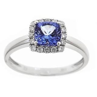 Anika and August 14k White Gold 1 2/7ct TDW Diamond and Cuschion-cut Tanzanite Gemstone Ring (G-H, I