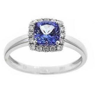 Anika and August 14k White Gold 1 2/7ct TDW Diamond and Cuschion-cut Tanzanite Gemstone Ring (G-H, I1-I2)
