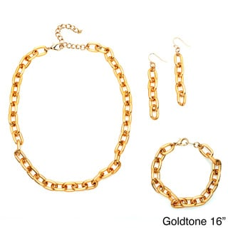 Alexa Starr Grooved Link Chain 3-piece Jewelry Set