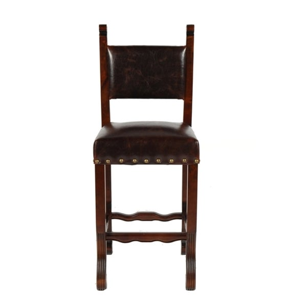 Leather Burgandy Spanish Bar Stool Free Shipping Today