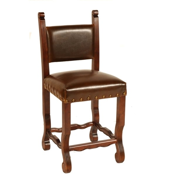 Leather Chestnut Spanish Counter Stool Free Shipping