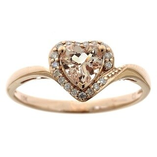 Anika and August 10k Rose Gold Heart Shaped Morganite 1/10ct TDW White Diamond Ring (G-H, I1-I2) - Pink