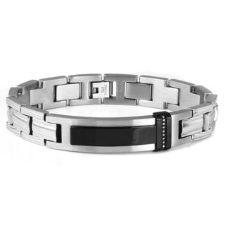 Men's Stainless Steel Diamond Accent ID Style Bracelet