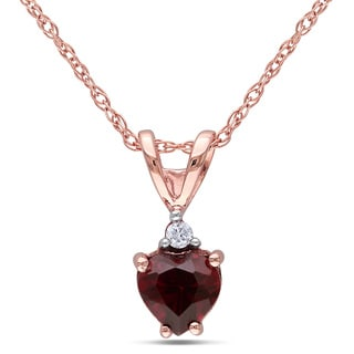 Miadora 10k Rose Gold Garnet and Diamond Accent Necklace
