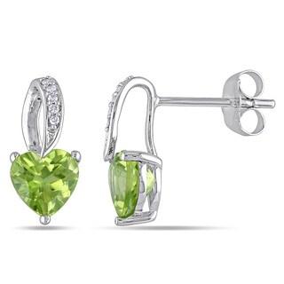 Miadora 10k White Gold Peridot and Diamond Accent Heart Dangle Earrings