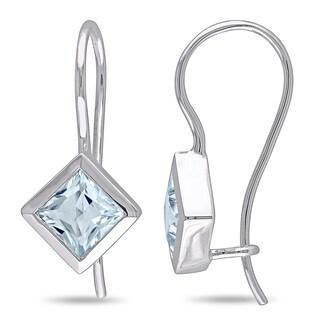 Miadora 10k White Gold Aquamarine Gemstone Dangle Earrings