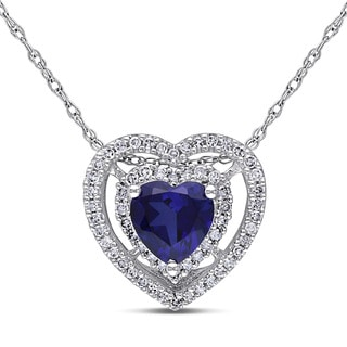 Miadora 10k White Gold Created Sapphire and 1/5ct TDW Diamond Heart Necklace (H-I, I2-I3)