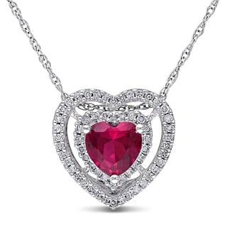 Miadora 10k White Gold Created Ruby and 1/5ct Diamond Heart Necklace (H-I, I2-I3)