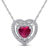 Miadora 10k White Gold Created Ruby and 1/5ct Diamond Heart Necklace (H-I, I2-I3)