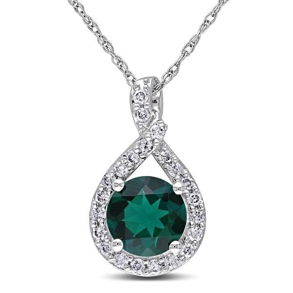 Miadora 10k White Gold Created Emerald and 1/5ct TDW Diamond Necklace (H-I, I2-I3)