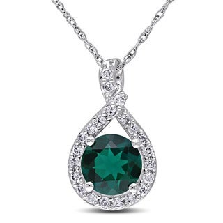 Miadora 10k White Gold Created Emerald and 1/5ct TDW Diamond Necklace (H-I, I2-I3)