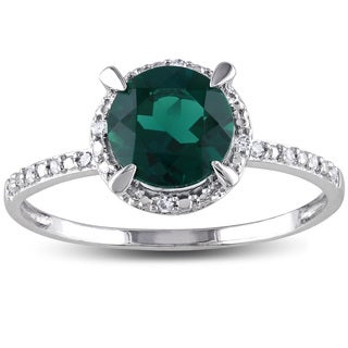 Miadora 10k White Gold Created Emerald and Diamond Accent Halo Ring (H-I, I2-I3)