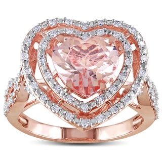 Miadora 10k Rose Gold Morganite and 1/3ct TDW Diamond Ring (H-I, I2-I3)