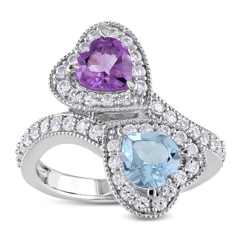 Miadora Sterling Silver 2 1/2ct TGW Multi-gemstone Double Heart Ring