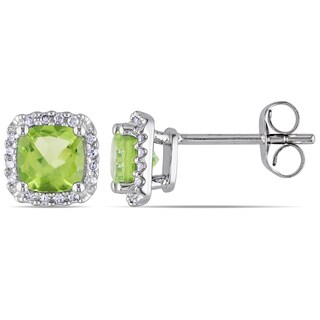 Miadora 10k White Gold Peridot and 1/10ct TDW Diamond Stud Earrings (H-I, I2-I3)