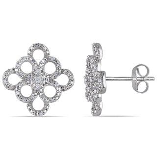 Miadora 10k White Gold 1/6ct TDW Diamond Stud Earrings