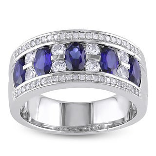 Miadora Sterling Silver Created Blue and White Sapphire and 1/8ct TDW Diamond Ring (H-I, I2-I3)