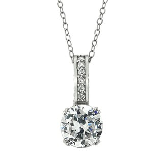 Icz Stonez Platinum Plated Sterling Silver 2 3/8ct TGW 100 Facets Cubic Zirconia Necklace