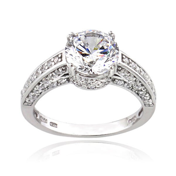 Icz Stonez Platinum Plated Sterling Silver 2 1/2ct TGW 100 Facets Cubic Zirconia Round Ring