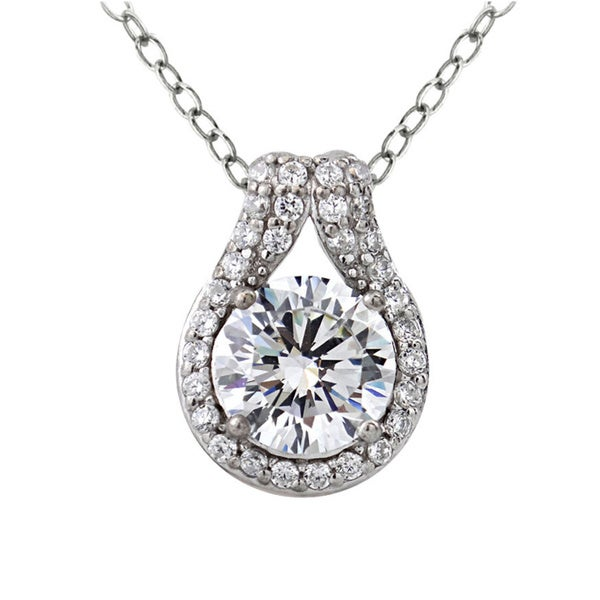 Icz Stonez Platinum Plated Sterling Silver 2 1/3ct TGW 100 Facets Cubic Zirconia Solitaire Teardrop Necklace. Opens flyout.