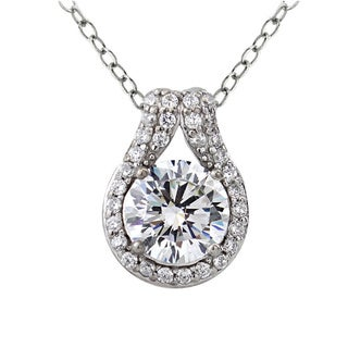 Icz Stonez Platinum Plated Sterling Silver 2 1/3ct TGW 100 Facets Cubic Zirconia Solitaire Teardrop Necklace