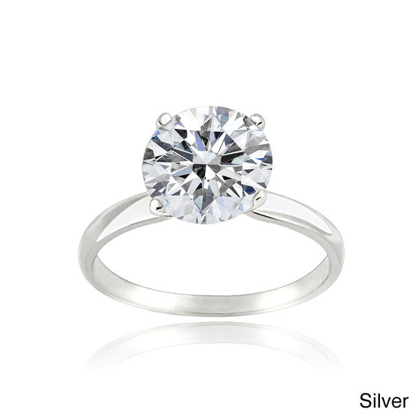 Icz Stonez Platinum Plated Sterling Silver 2ct TGW 100 Facets Cubic Zirconia Ring