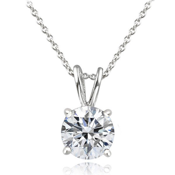 Icz Stonez Platinum Plated Sterling Silver 1ct TGW 100 Facets Cubic Zirconia Necklace. Opens flyout.