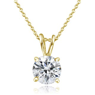 Icz Stonez Platinum Plated Sterling Silver 1ct TGW 100 Facets Cubic Zirconia Necklace (Option: Gold over Silver)