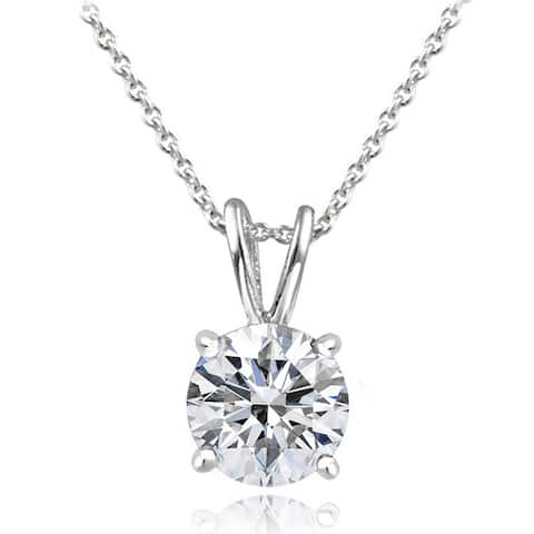 Icz Stonez Platinum Plated Sterling Silver 1ct TGW 100 Facets Cubic Zirconia Necklace