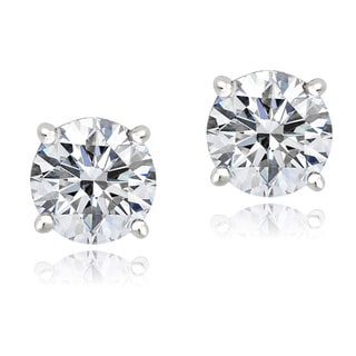 Icz Stonez Platinum-plated Sterling Silver 7/8ct TGW Cubic Zirconia Stud Earrings