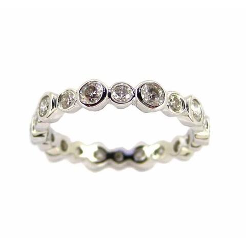 Kabella Luxe 14k White Gold 1 1/10ct TDW Bezel Diamond Eternity Ring (H-I, I1-I2)