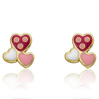 Little Miss Twin Stars 'I Love My Jewels' Goldplated Enamel Triple Heart Stud Earrings