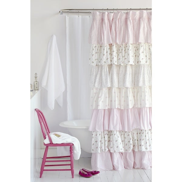 Shop Pink Floral French Ruffle Shower Curtain