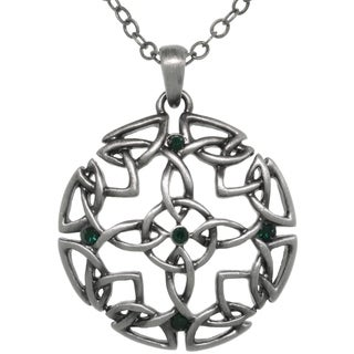 Carolina Glamour Collection Pewter Green Crystal Rhinestone Celtic Circle Of Life Medallion Necklace